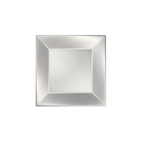 Einweg-Teller flach, Perlmut-Weiss 23x23cm aus Plastik (PP), 8 Stück - Mank