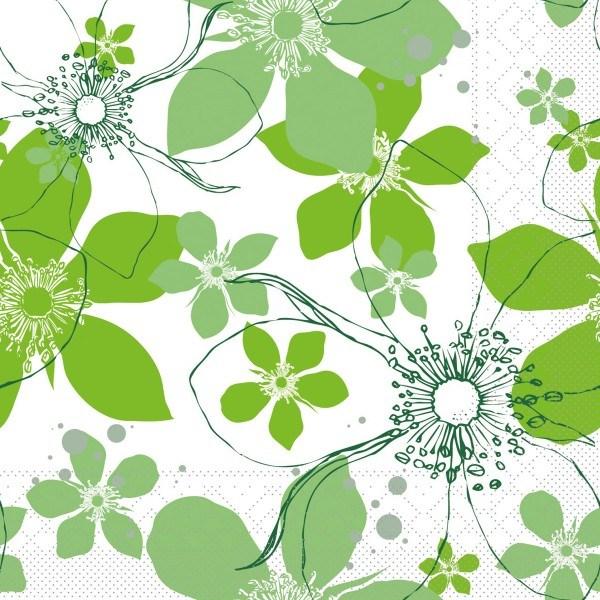 Tissue Serviette Yessika in Apfelgrün, 33 x 33 cm, 100 Stück - Mank