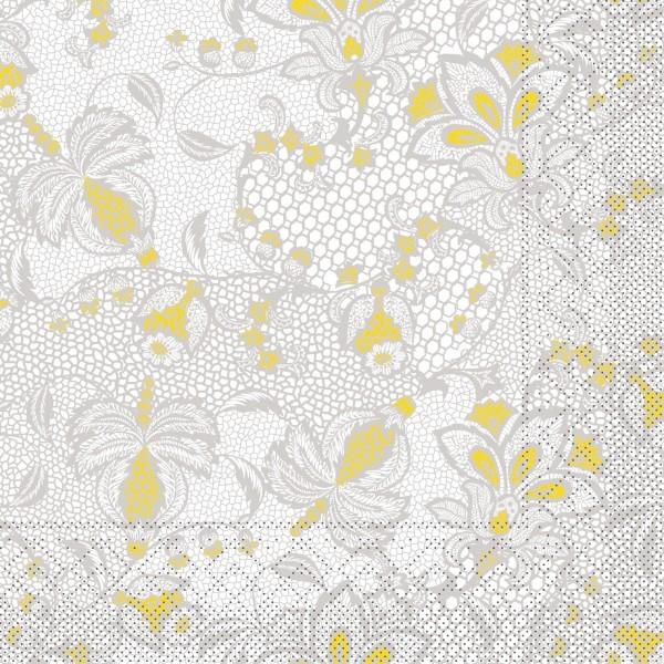Tissue Serviette Dion in Grau-Gelb, 40 x 40 cm, 100 Stück - Mank