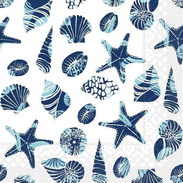 Tissue Serviette Beach in Blau, 40 x 40 cm, 100 Stück - Mank