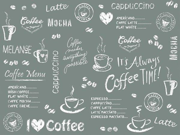 Airlaid Tischset Coffee Time in Anthrazit, 40 x 30 cm, 100 Stück - Mank