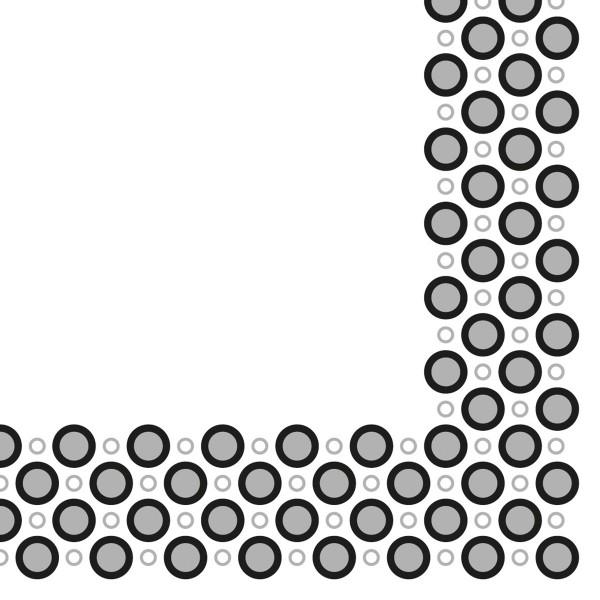 Airlaid Serviette Art-Deco-Circles in Silber-Schwarz, 40 x 40 cm, 50 Stück - Mank