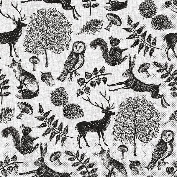 Tissue Serviette Forest Grau-Schwarz, 33 x 33 cm, 100 Stück - Mank