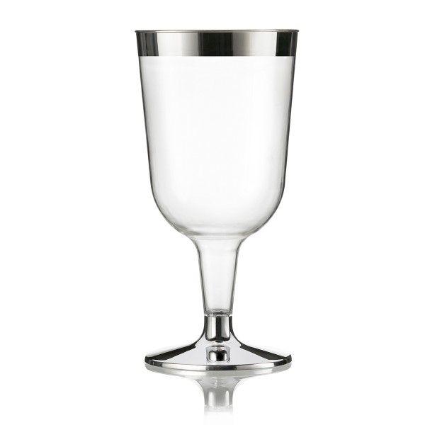 Einweg Weinglas Silberrand 13,6cm metallisiert aus Plastik, 12 Stück - Mank