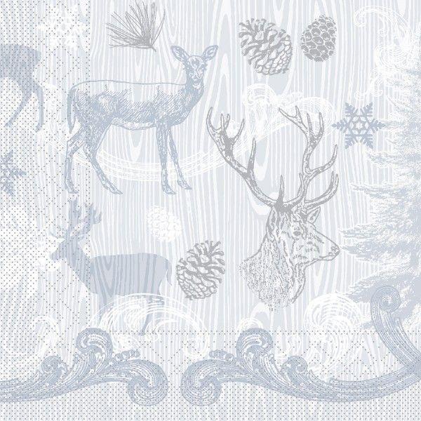 Tissue Serviette Bruno in Grau-Silber, 40 x 40 cm, 100 Stück - Mank