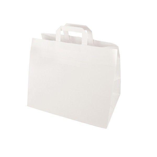 Tragetaschen, Papier 27 cm x 32 cm x 17 cm, Weiß mit Tragegriff - Papstar