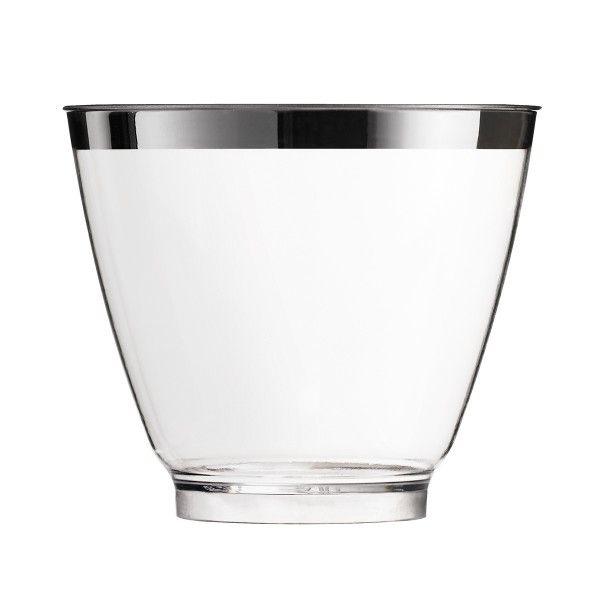 Einweg Fingerfood Glas Silberrand 80ml aus Plastik Metallisiert, 40 Stück - Mank