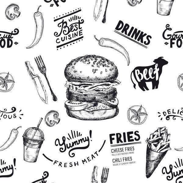 Burgerpapier Burger Menu in Schwarz 30 x 30 cm, 2000 Stück - Mank