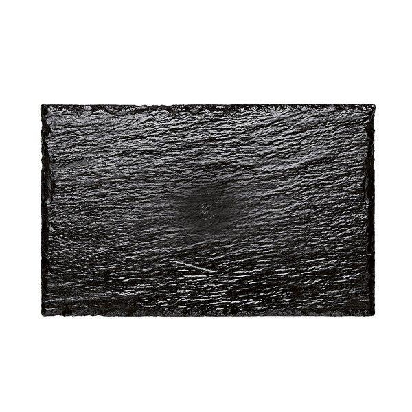 Einweg Servierplatte Schiefer-Optik Schwarz 30cm x 15,8cm aus Plastik, 10 Stück - Mank
