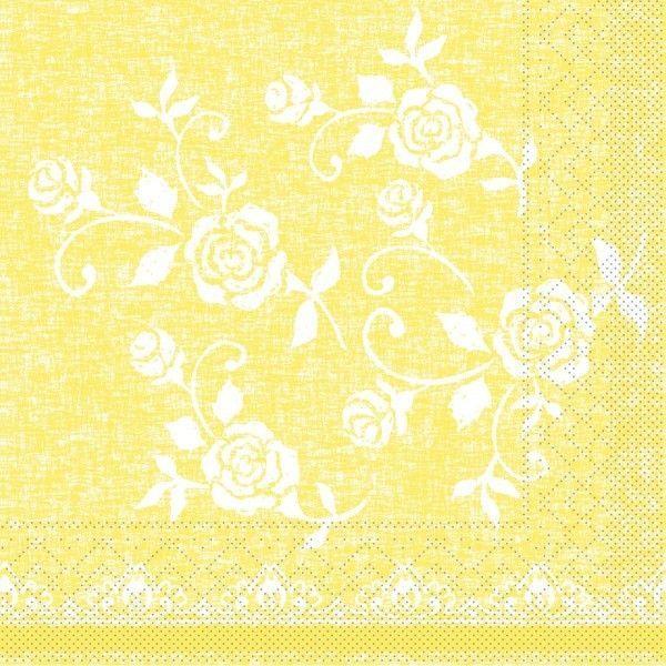 Tissue Serviette Lace in Gelb, 33 x 33 cm, 100 Stück - Mank