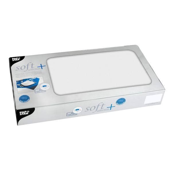 Tischdecken, stoffähnlich, Vlies soft selection plus 80 cm x 80 cm Weiß, 100 Stück - Papstar