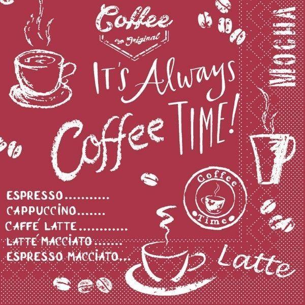 Tissue Serviette Coffee Time in Bordeaux, 25 x 25 cm, 100 Stück - Mank