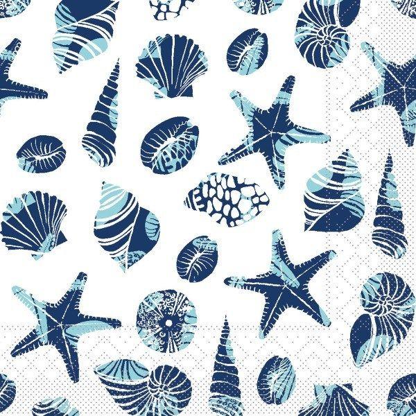 Tissue Serviette Beach in Blau, 33 x 33 cm, 100 Stück - Mank