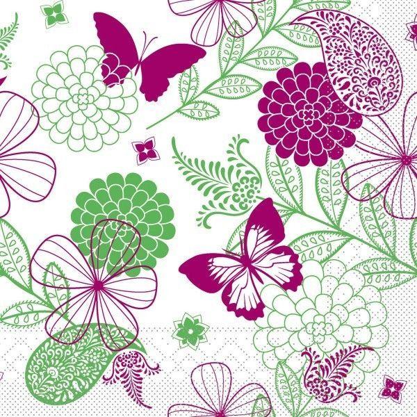 Tissue Serviette Natalie in Pink-Grün, 33 x 33 cm, 100 Stück - Mank