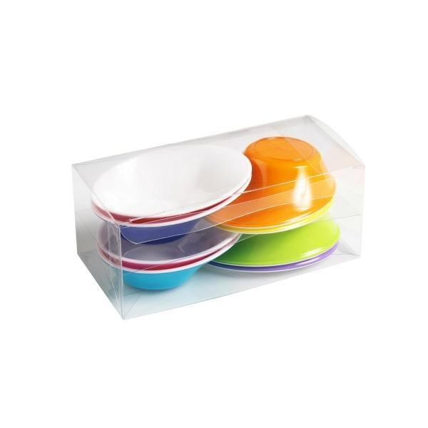 Einweg-Fingerfood Schälchen bunt 50ml aus Plastik, 8 Stück - Mank