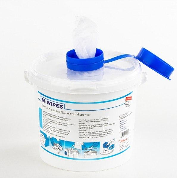 Reinigungstuch M-Wipes aus Spunlace Weiß im Spendereimer, 17x25cm ca. 200 Abrisse, 2 Rollen + 2 Eime