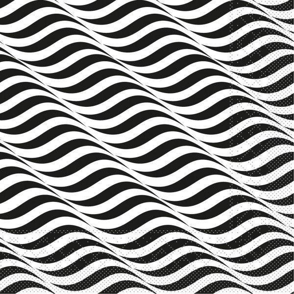 Tissue Serviette Nizza in Schwarz-Weiß, 40 x 40 cm, 100 Stück - Mank