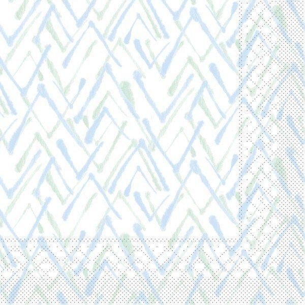 Tissue Serviette Zack in Grün-Blau, 33 x 33 cm, 100 Stück - Mank