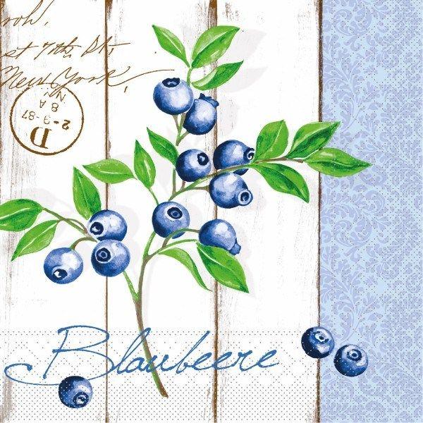 Tissue Serviette Blaubeere, 25 x 25 cm, 100 Stück - Mank