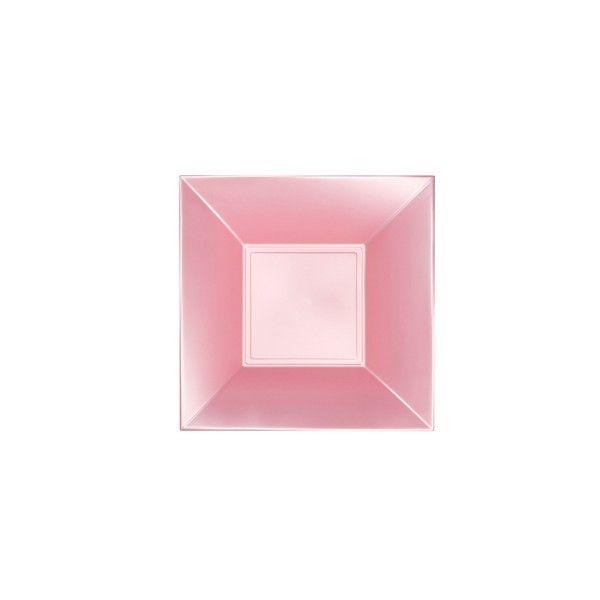 Einweg-Teller tief, Perlmutt-Rosa 18x18cm aus Plastik (PP), 8 Stück - Mank