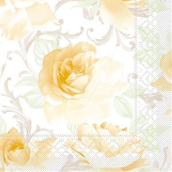 Tissue Serviette Rosalie in Gelb, 40x40 cm, 100 Stück - Mank