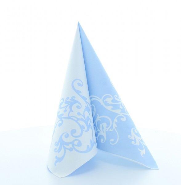 Airlaid Serviette Pomp in Pastellblau-Weiß, 40 x 40 cm, 50 Stück - Mank
