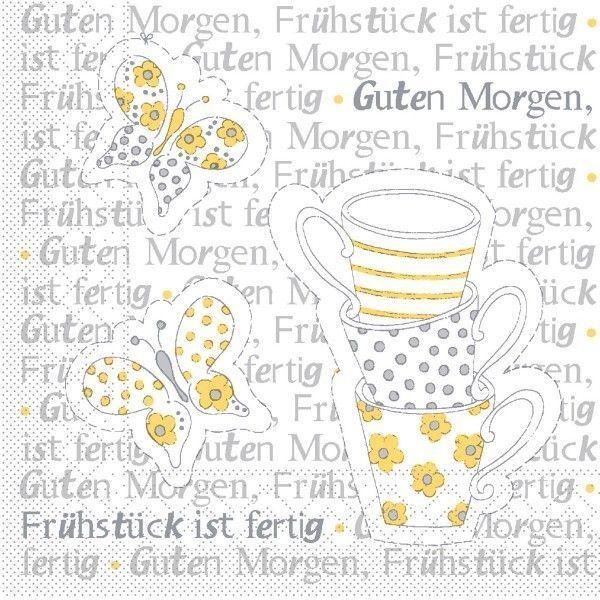 Tissue Serviette Frühstück ist Fertig! in Gelb-Grau, 25 x 25 cm, 100 Stück - Mank
