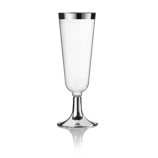 Einweg Sektglas Silberrand metallisiert 16cm aus Plastik, 12 Stück - Mank