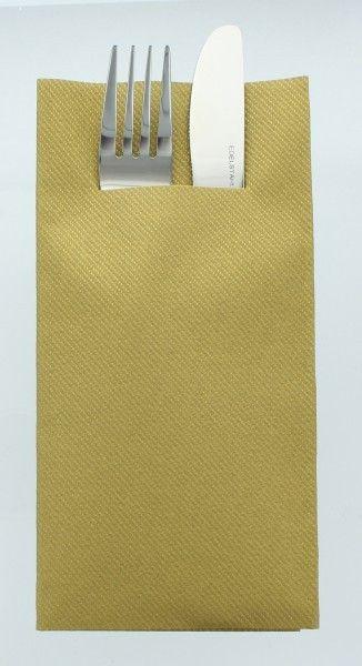 Airlaid Besteckservietten Gold, 40 x 40 cm, 75 Stück - Mank