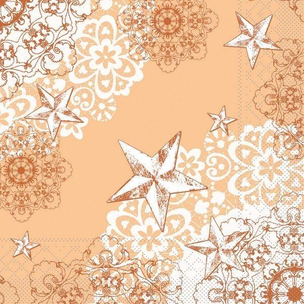 Tissue Serviette Sternenschein in Aprikot-Terrakotta, 33 x 33 cm, 100 Stück - Mank