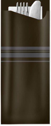 Pochetta Fit in Schwarz 85 x 190 mm, mit 2-lagiger Tissue-Serviette in Weiß - 1 Karton/350 Stück