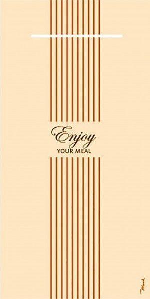 Airlaid Besteckservietten Enjoy Your Meal in Creme, 40 x 40 cm, 75 Stück - Mank