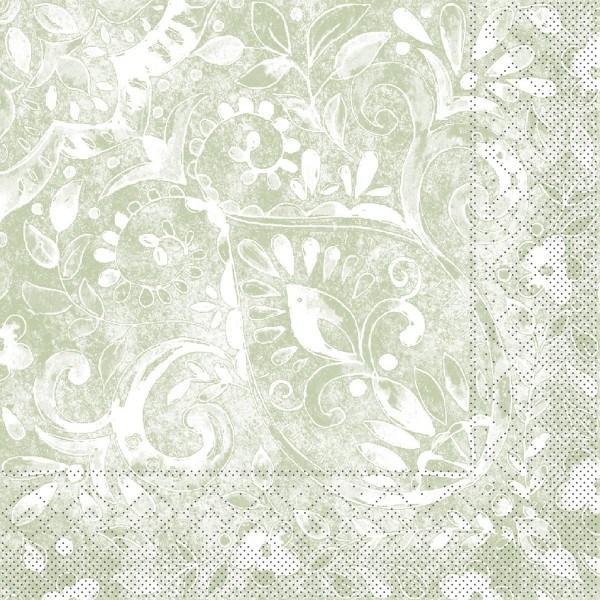 Tissue Serviette Felicia in Oliv, 33 x 33 cm, 100 Stück - Mank