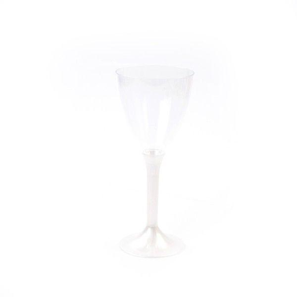 Einweg Weinglas, Wasserglas mit Stiel Perlmutt-Weiss 180ml aus Plastik (PS), 6 Stück - Mank