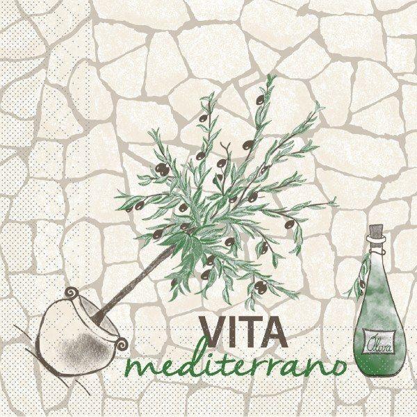 Tissue Serviette Vita Mediterrano, 40x40 cm, 100 Stück - Mank