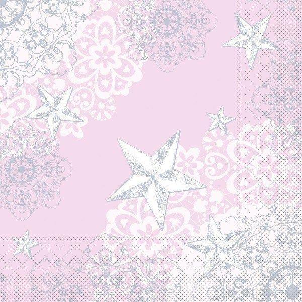 Tissue Serviette Sternenschein in Rose-Silber, 40 x 40 cm, 100 Stück - Mank