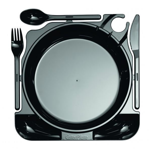 Einweg Cater Plate Teller MILAN inkl. Besteck in Schwarz 27cm x 26cm aus Plastik, 10 Stück - Mank