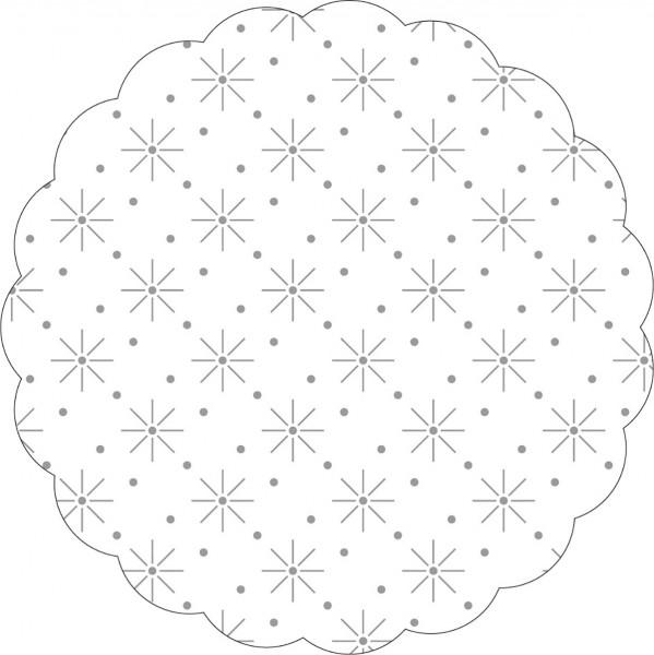 Tissue Deckchen mit Sterne - Punkte Prägung in Weiss, Ø 80mm, 250 Stück - Mank