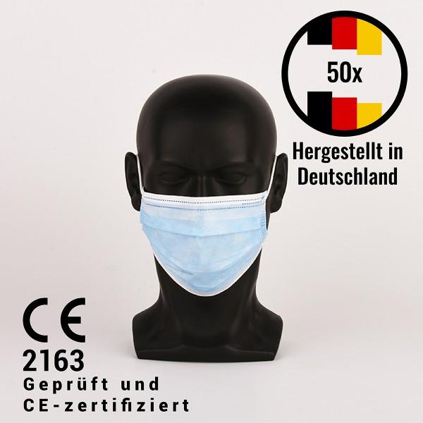 Medizinische Gesichtsmaske Typ IIR, CE2163, 3lagig, hergestellt in Deutschland - 50 Stück