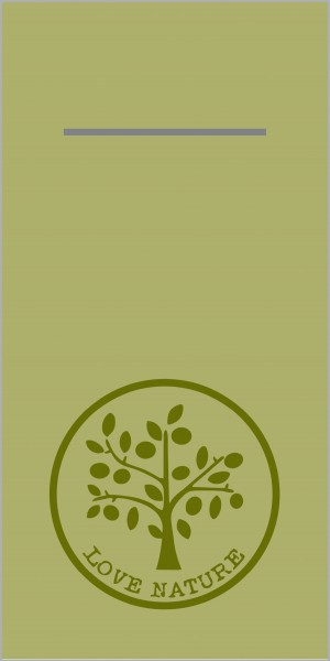 Airlaid Besteckservietten Love Nature in Oliv, 40 x 40 cm, 75 Stück - Mank