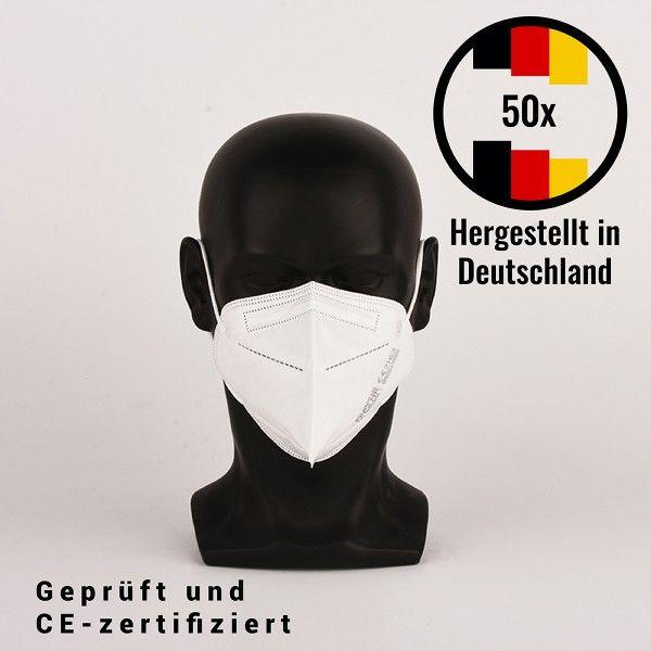 FFP2 Filtrierende Halbmaske - hergestellt in Deutschland, 50 Stück, CE zertifiziert - Atemschutzmask