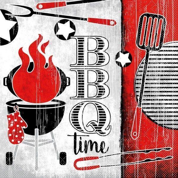 Tissue Serviette BBQ-Time, 33 x 33 cm, 100 Stück - Mank