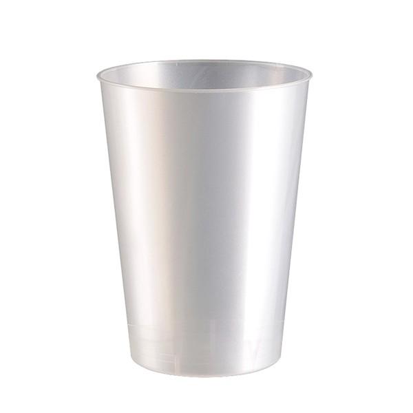 Mehrweg Trinkbecher Perlmutt-Weiss 230ml aus Plastik (PS), 10 Stück - Mank