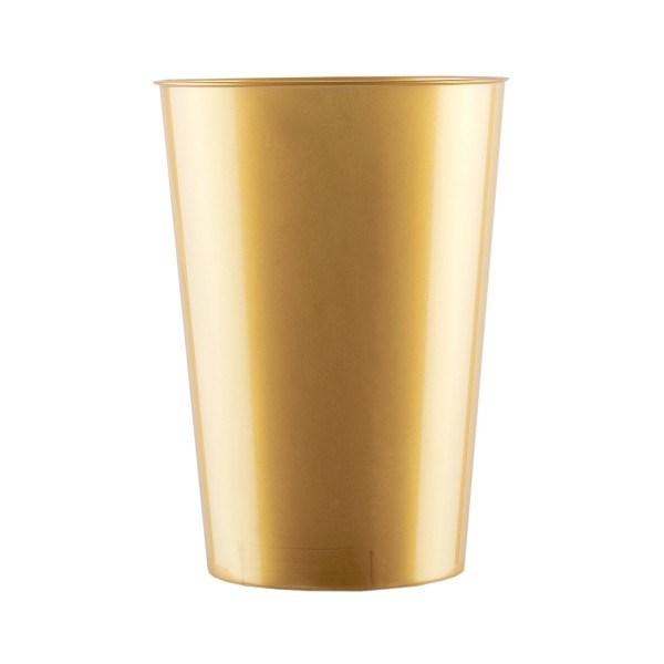 Mehrweg Trinkbecher Gold 230ml aus Plastik (PS), 10 Stück - Mank