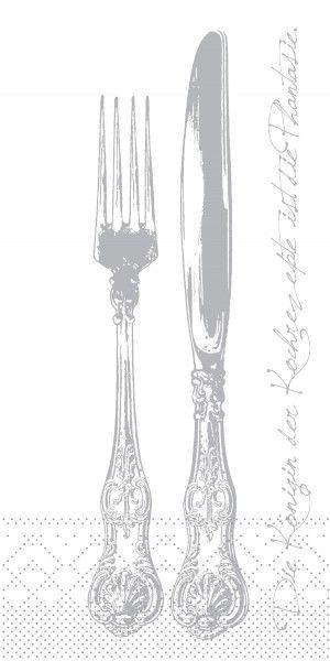 Tissue Serviette Heidelberg in Silber, 40 x 40 cm, 1/8 Falz, 125 Stück - Mank