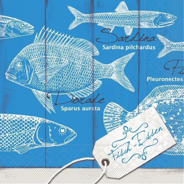 Tissue Serviette Fisch-Essen, 40 x 40 cm, 100 Stück - Mank