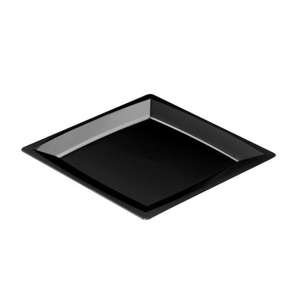 Einweg Teller MILAN Gr. L in Schwarz 21 x 21cm aus Plastik, 12 Stück - Mank