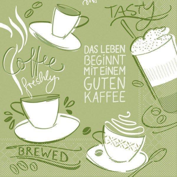 Tissue Serviette Tasty Coffee in Oliv, 33 x 33 cm, 100 Stück - Mank