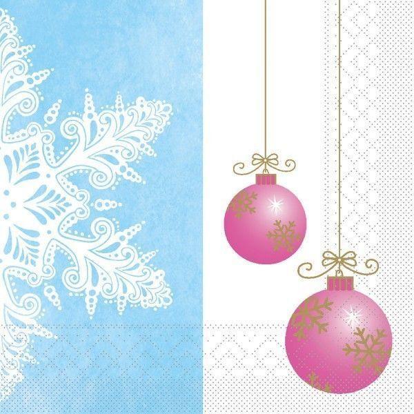 Tissue Serviette Coline in Blau-Pink, 33 x 33 cm, 100 Stück - Mank