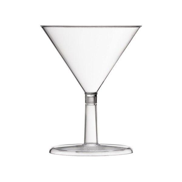 Einweg Martini Glas aus Plastik, Transparent, 24 Stück - Mank